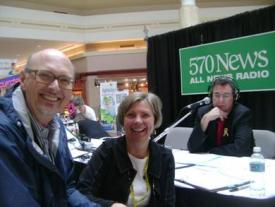 Peter, LisaTalbot, Don Kollins at Radiothon